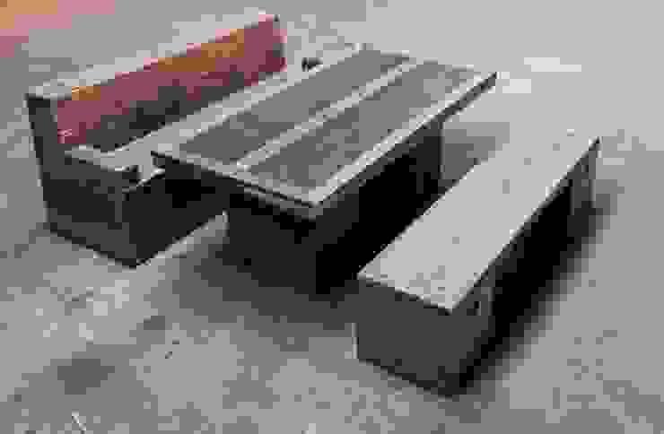 Sitzgruppe im Vintage Style : industriell  von Concept Beton,Industrial