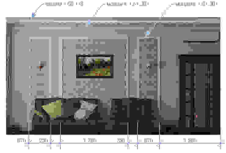 Неоклассика в кухне и гостиной Гостиная в классическом стиле от Москоу Дизайн Классический