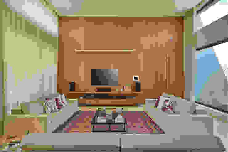 Estar íntimo, Casa Amendoeiras. Salas multimídia modernas por Beth Marquez Interiores Moderno