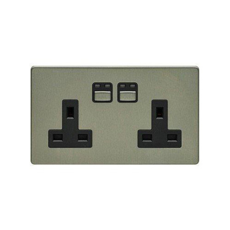 LIGHTWAVERF 2 GANG 13A SOCKET (STAINLESS STEEL) DirectTradeSupplies Sala multimediaElectrónica