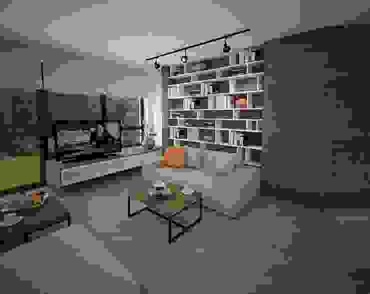 Salon z wnęką na książki Minimalistyczny salon od living box Minimalistyczny