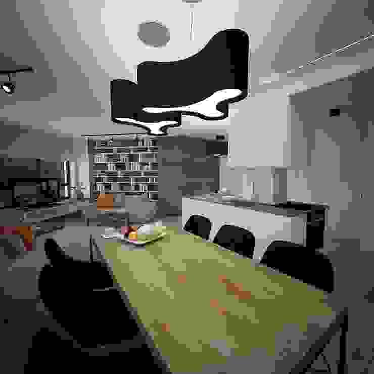 Salon otwartą kuchnią i jadalnią Minimalistyczna jadalnia od living box Minimalistyczny