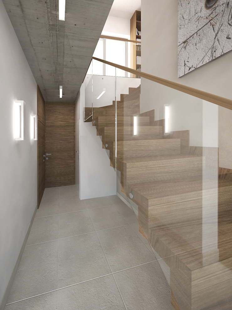 Minimalist corridor, hallway & stairs by KRY_ Minimalist