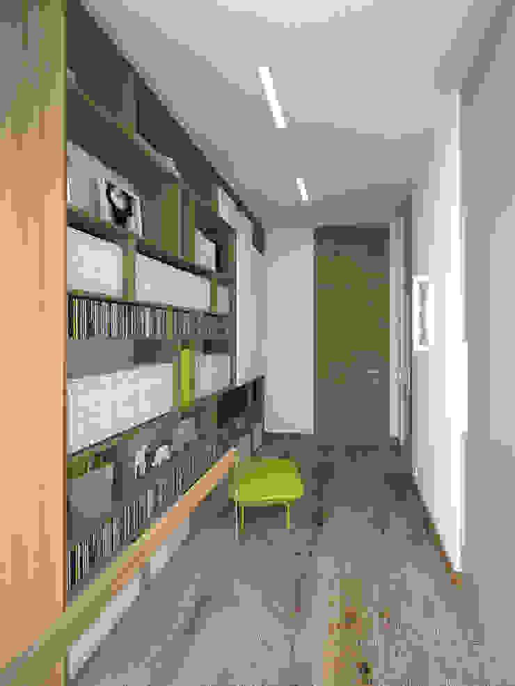 Korytarz z biblioteką Minimalistyczny korytarz, przedpokój i schody od KRY_ Minimalistyczny