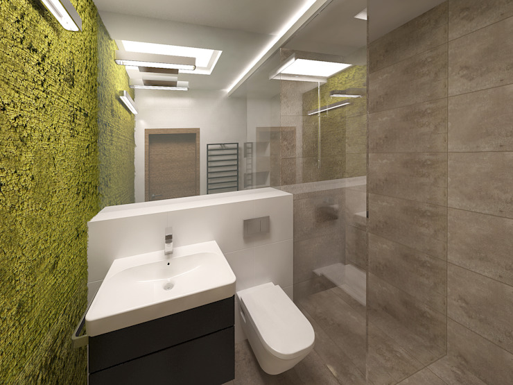 Łazienka z mchem Minimalistyczna łazienka od KRY_ Minimalistyczny