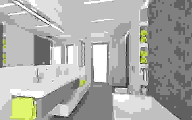 Łazienka a akcentem limonki Minimalistyczna łazienka od KRY_ Minimalistyczny