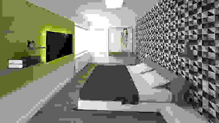 Sypialnia Minimalistyczna sypialnia od KRY_ Minimalistyczny