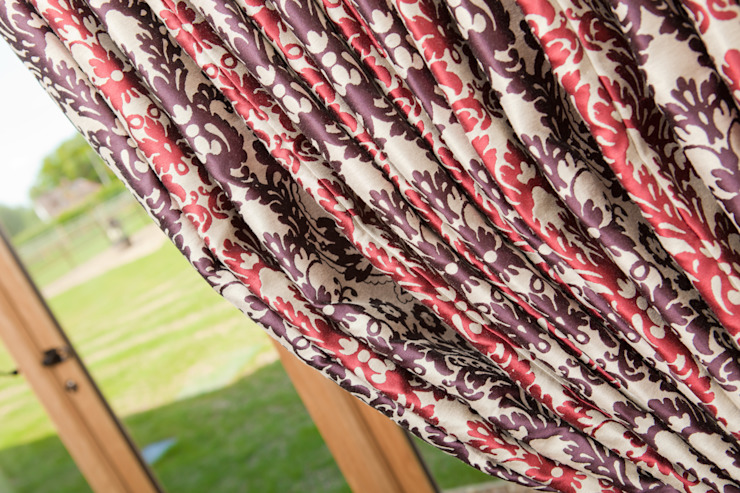 Fabulous red and purple, luxury full length curtains: country  by Design by Deborah Ltd, Country