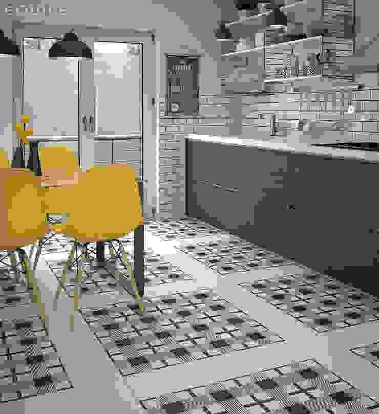 Caprice White, DECO Cloth B&W 20x20 Cocinas de estilo moderno de Equipe Ceramicas Moderno