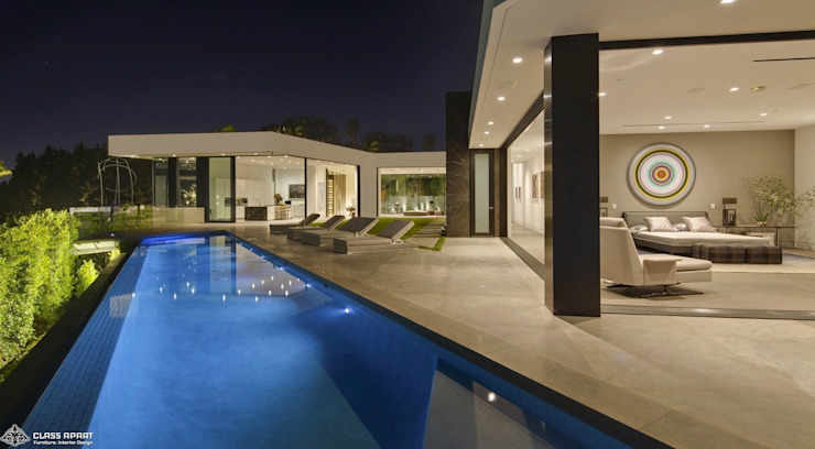 private residence -dramatic glass home Modern pool by CLASS APART (furniture.interiordesign) Modern