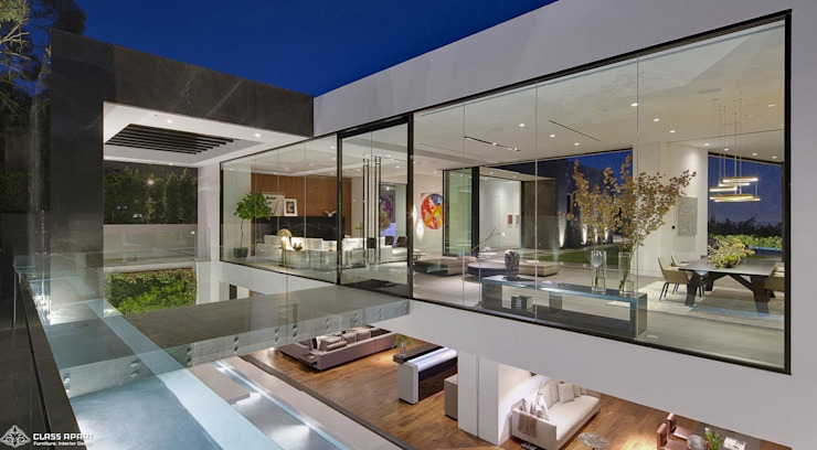 private residence -dramatic glass home Minimalist houses by CLASS APART (furniture.interiordesign) Minimalist