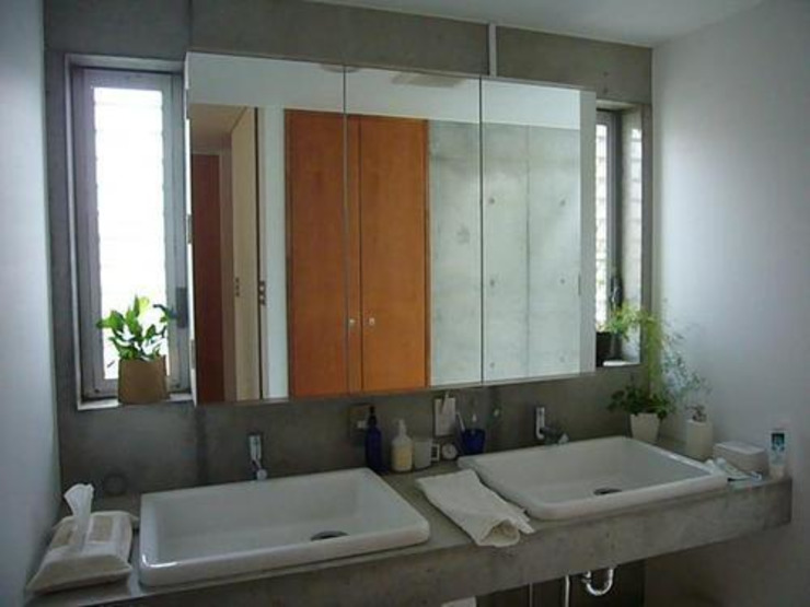 中庭と坪庭のあるガレージハウス モダンスタイルの お風呂 の 三浦尚人建築設計工房 モダン