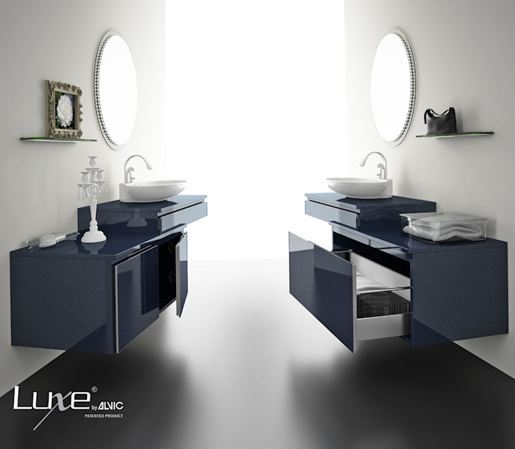 Baño alto brillo y acabado metalizado Luxe by Alvic. Baños de estilo moderno de ALVIC Moderno