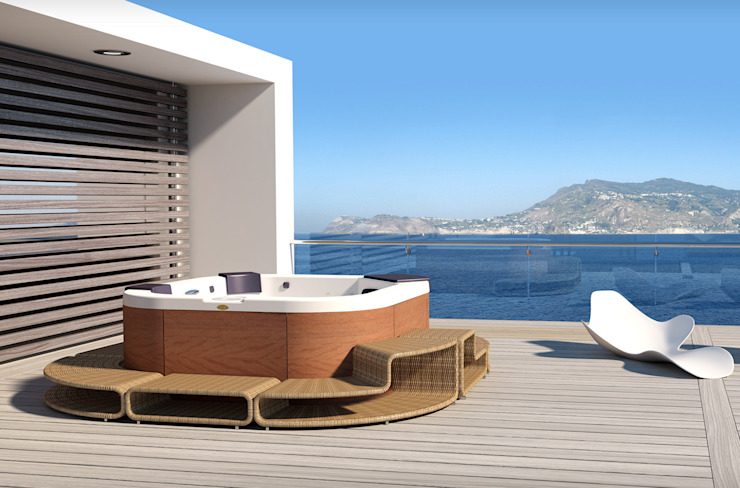 Maxi Spa Santorini PRO with surround designed for Jacuzzi di DNA |design by Kaluderovic & Condini| Moderno