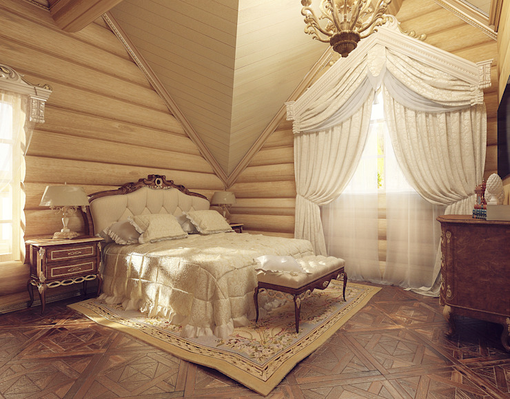 Деревянный дом для отдыха.: Спальни в . Автор – Tutto design, Классический