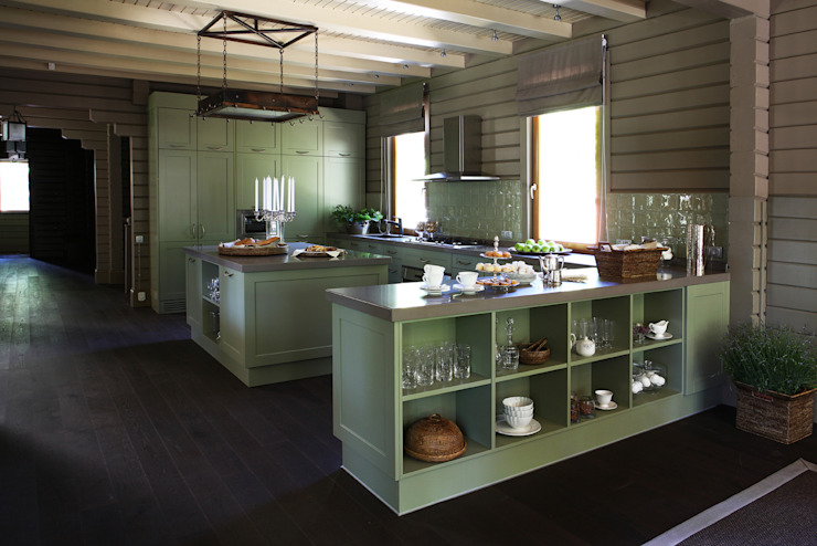 Дом из клееного бруса в Новоглаголево Дизайн бюро Татьяны Алениной Кухня в стиле модерн