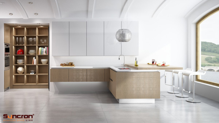 Cocina de la gama Syncron de Alvic y Luxe ato brillo de ALVIC Moderno