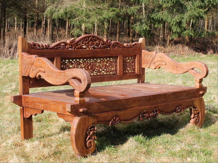Carved Elephant Bench: rustic  by Garden Furniture Centre, Rustic