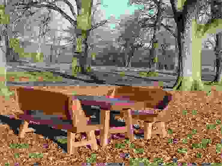 Flintstones Bench Set: rustic  by Garden Furniture Centre, Rustic