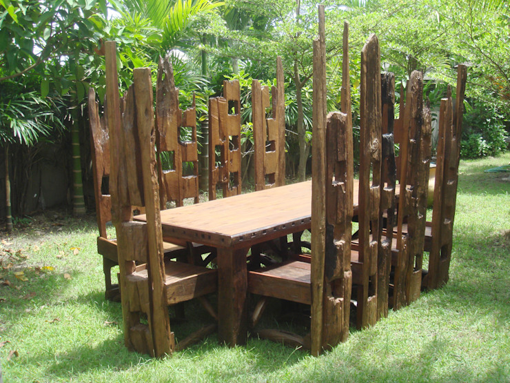 10 High Chair Set: rustic  by Garden Furniture Centre, Rustic