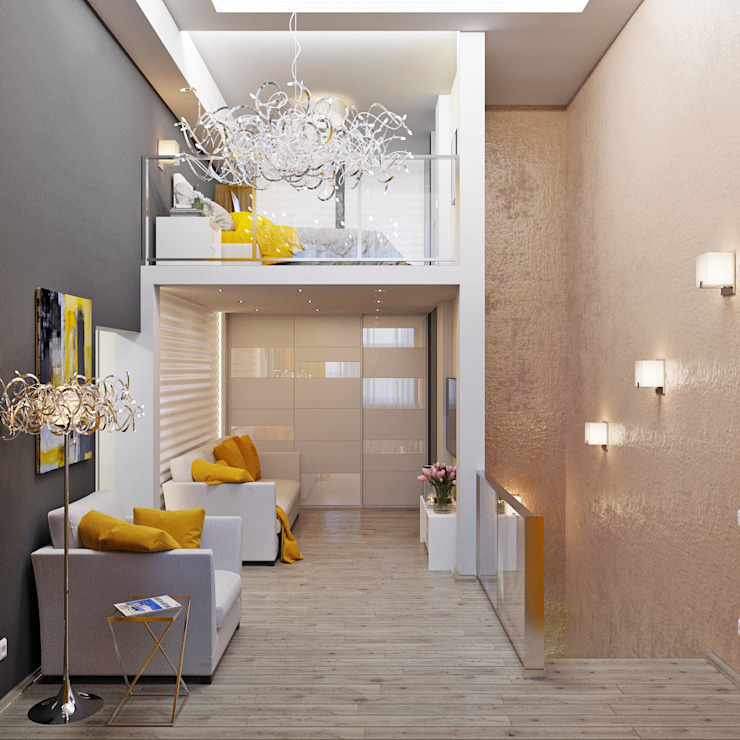 Двухуровневая квартира в морском стиле Гостиная в стиле минимализм от Студия дизайна Interior Design IDEAS Минимализм