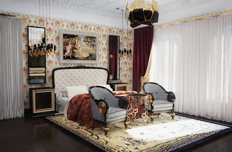 Спальня в загородном доме Дома в классическом стиле от Настасья Евглевская Классический