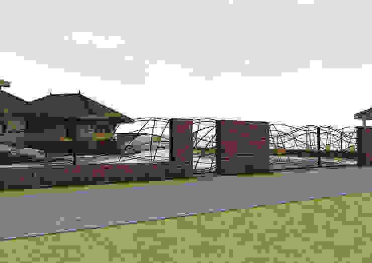 Projekt płotu - ujęcie 3 Nowoczesny ogród od UNICAT GARDEN Nowoczesny