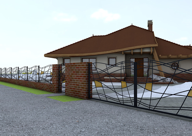 Projekt płotu - ujęcie 1 Nowoczesny ogród od UNICAT GARDEN Nowoczesny
