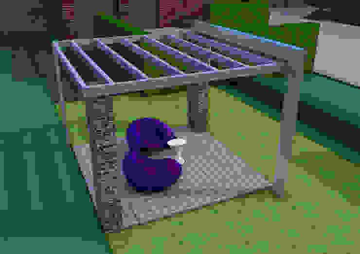 Projekt pergoli z gabionów- wersja 1. Nowoczesny ogród od UNICAT GARDEN Nowoczesny