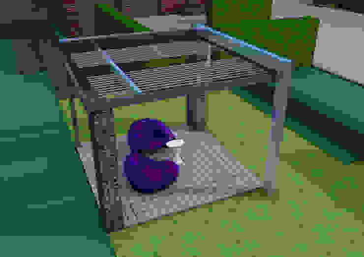 Projekt pergoli z gabionów- wersja 2. Nowoczesny ogród od UNICAT GARDEN Nowoczesny