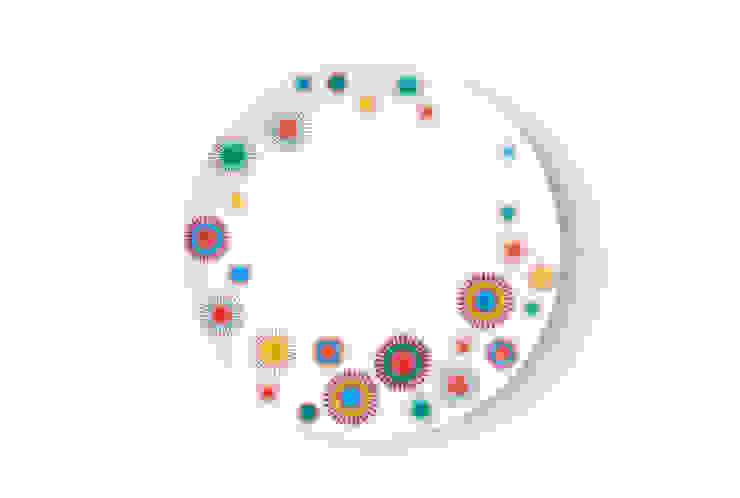 Duży porcelanowy talerz (śr. 28 cm) Dmuchawce marki Zulana od Zulana Eklektyczny