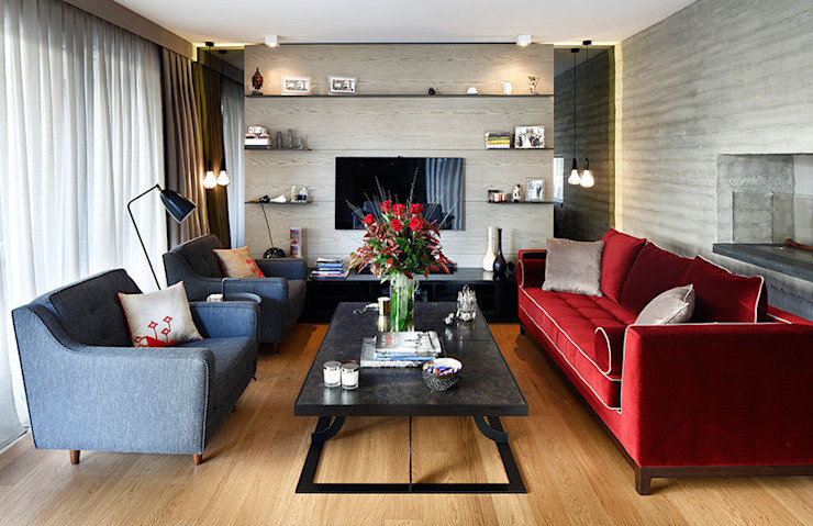 living room: eclectic  by Esra Kazmirci Mimarlik, Eclectic
