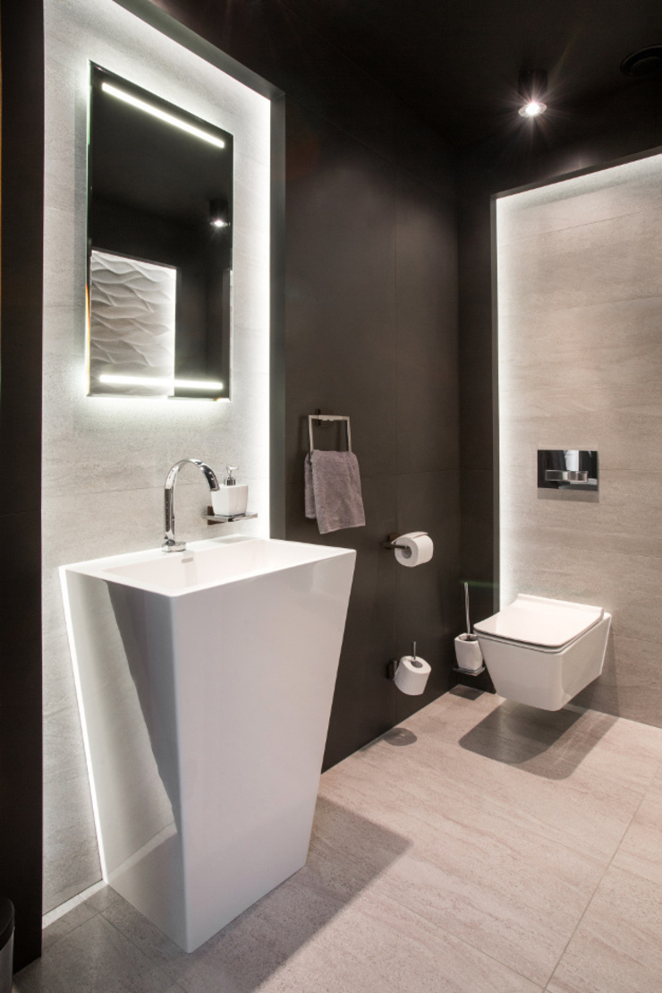 現代浴室設計點子、靈感&圖片 根據 Viva Design - projektowanie wnętrz 現代風
