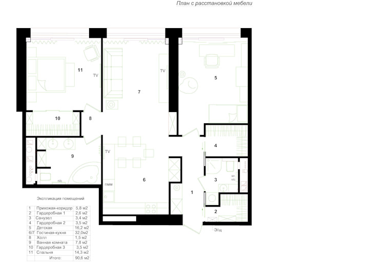 Планировка квартиры. от INTERIOR PROJECT studio
