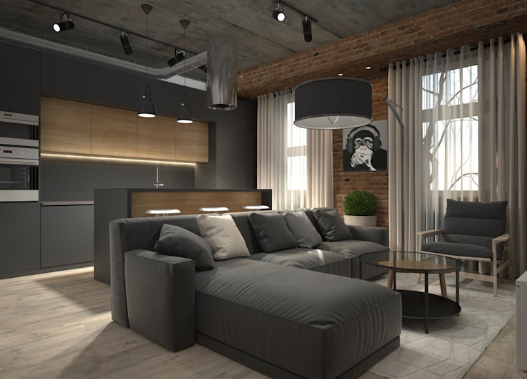 Квартира-студия для холостяка: Гостиная в . Автор – Elena Arsentyeva, Лофт