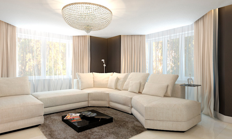 Elena Arsentyeva Minimalist living room