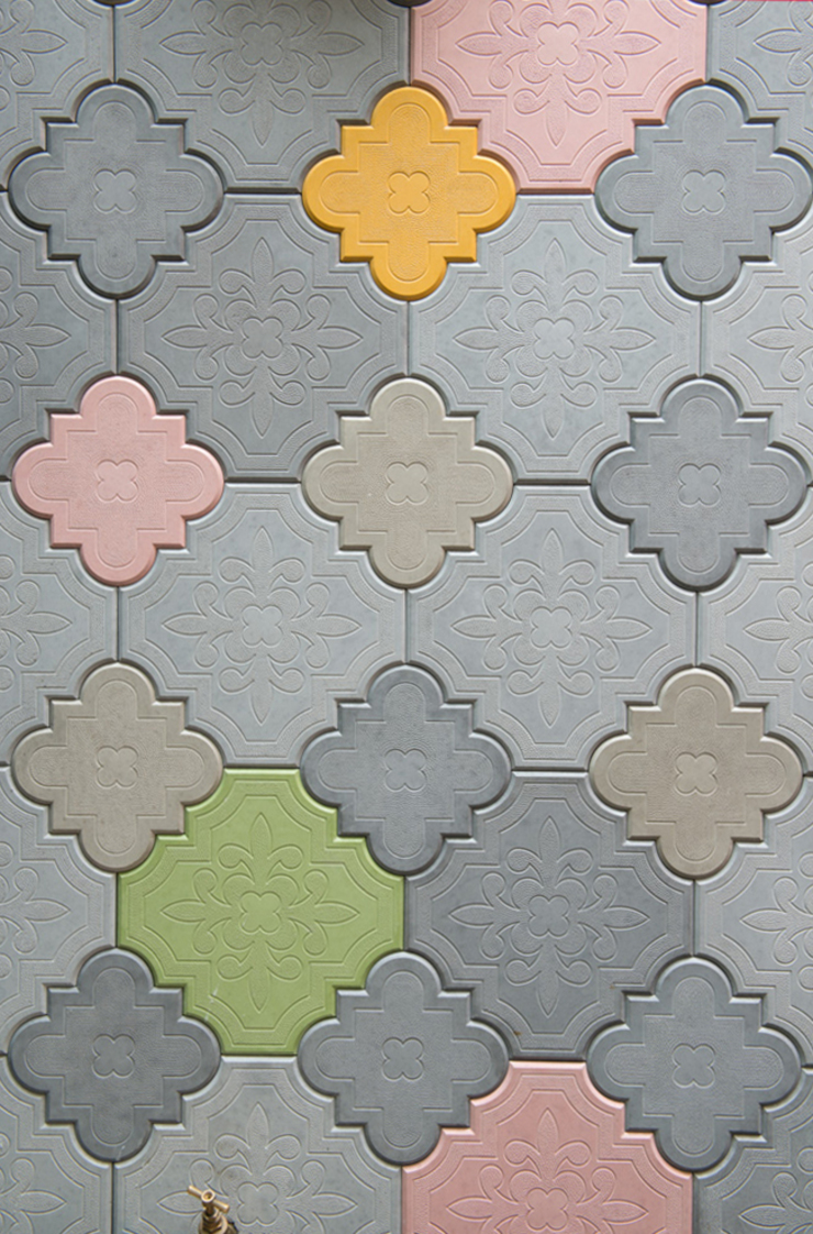 Coloured concrete tiles: asian  by Ar'Chic, Asian