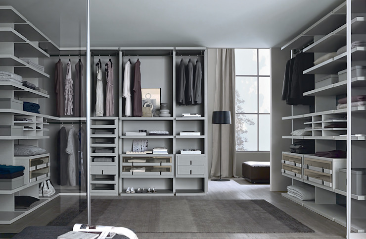 Linen finish walk-in-wardrobe Lamco Design LTD Dressing roomWardrobes & drawers