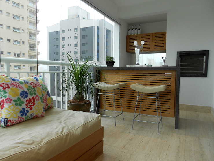 Varanda com choppeira Varandas, alpendres e terraços modernos por Compondo Arquitetura Moderno