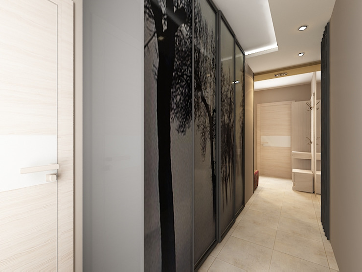 Квартира 71м2. в г.Балашиха, для молодой семьи, мамы, папы и дочери. Коридор, прихожая и лестница в классическом стиле от Ольга Зелинская Классический