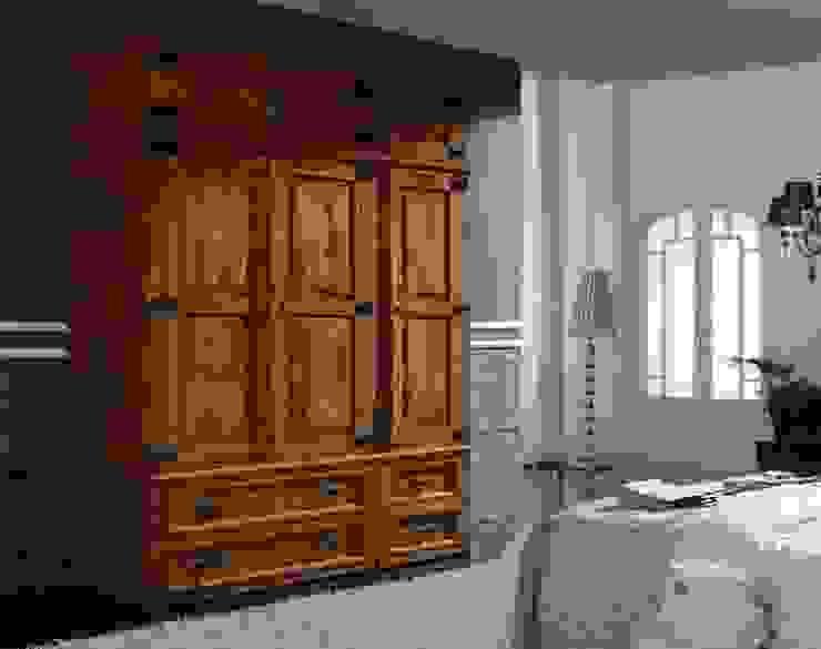 Armario rústico mexicano en madera maciza de Silarte Muebles Rústicos Rústico
