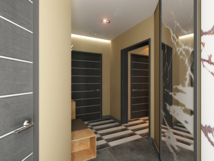 Квартира мотоциклиста Коридор, прихожая и лестница в модерн стиле от Ольга Зелинская Модерн