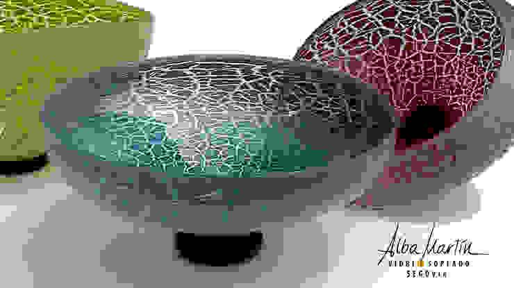 """""""Boles"""" vidrio soplado, crackelado de Alba Martín Vidrio Soplado Moderno"""