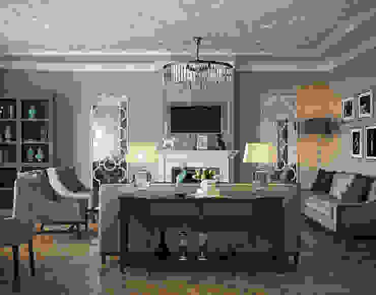 Кухня-гостиная и спальня квартиры в ЖК <q>Александрия</q>, Санкт-Петербург. Гостиная в классическом стиле от EJ Studio Классический