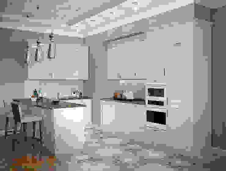 Кухня-гостиная и спальня квартиры в ЖК <q>Александрия</q>, Санкт-Петербург. Кухня в классическом стиле от EJ Studio Классический
