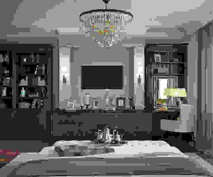 Кухня-гостиная и спальня квартиры в ЖК <q>Александрия</q>, Санкт-Петербург. Спальня в классическом стиле от EJ Studio Классический