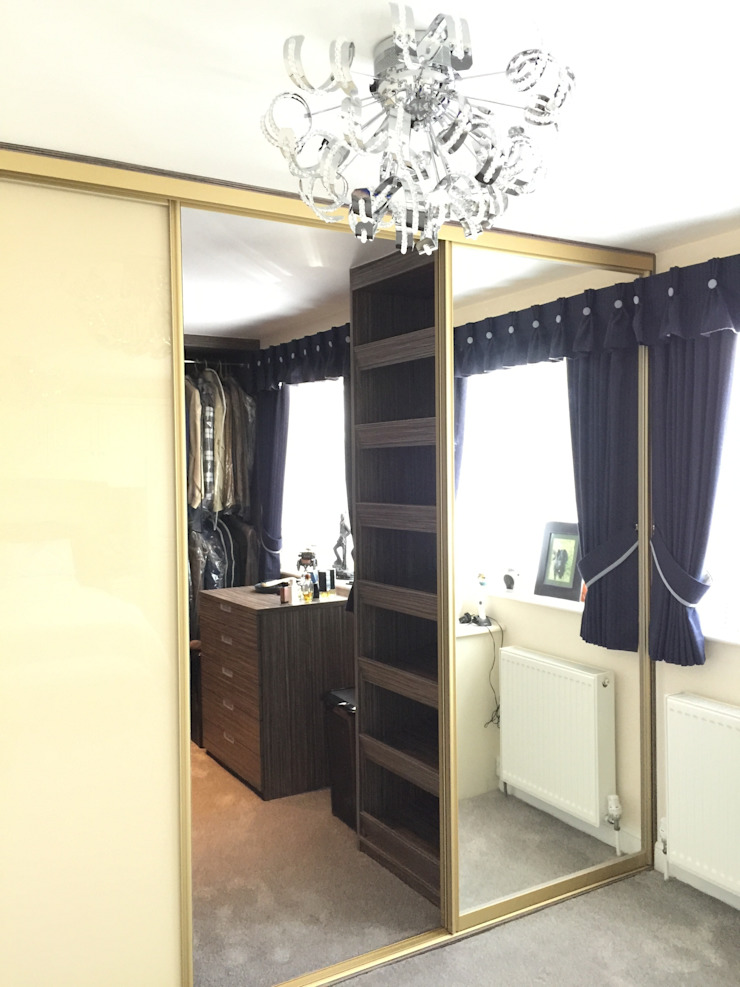 Grey-Beige Zebrano walk-in wardrobe with gold frame sliding doors Sliding Wardrobes World Ltd BedroomWardrobes & closets