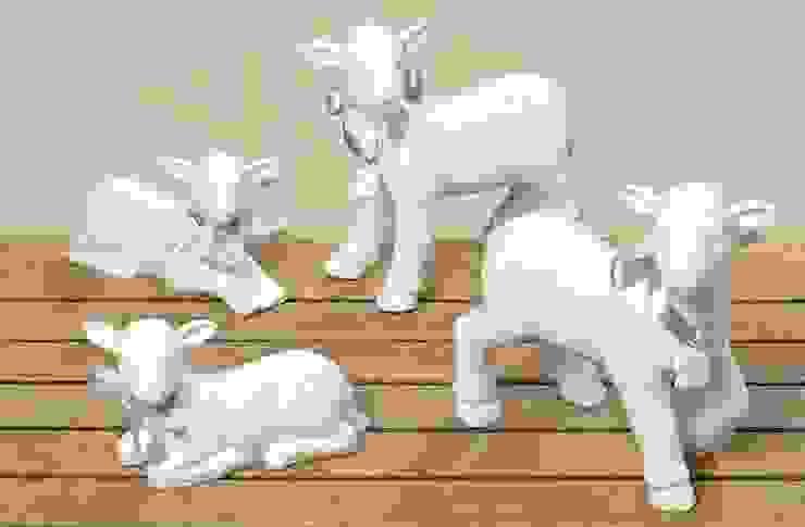 Baranek porcelanowy leżący duży, dł. 18cm od Silly Design - prezentowa porcelana Klasyczny