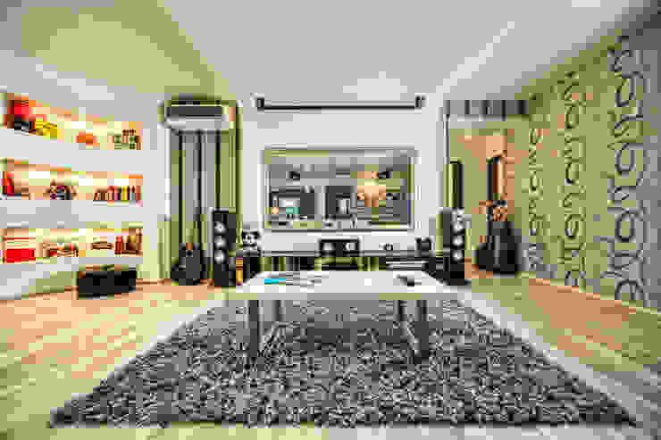 Проект 3х комнатной квартиры-студии 95 м² Медиа комнаты в эклектичном стиле от SAZONOVA group Эклектичный