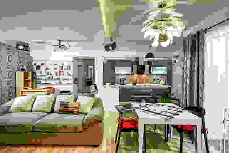 Проект 3х комнатной квартиры-студии 95 м² Столовая комната в эклектичном стиле от SAZONOVA group Эклектичный